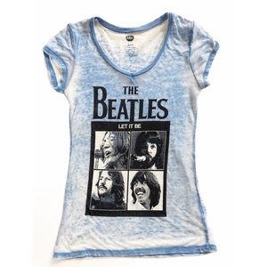 THE BEATLES Let it Be Graphic Tee Size Small Blue